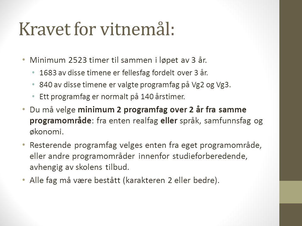 Kravet for vitnemål: Minimum 2523 timer til sammen i løpet av 3 år. 1683 av disse timene er fellesfag fordelt over 3 år. 840 av disse timene er valgte