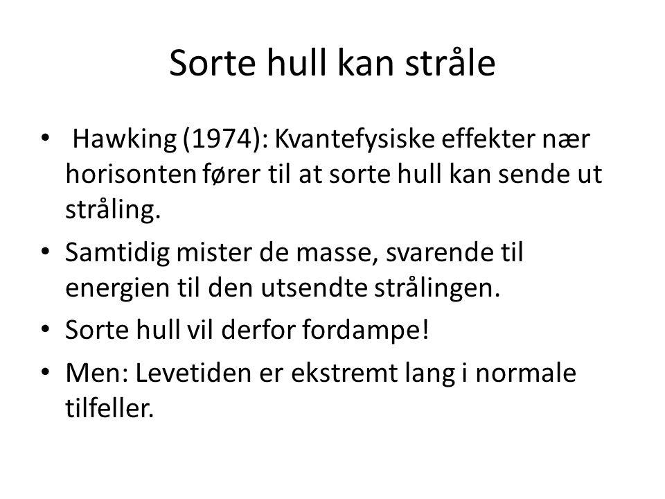Sorte hull kan stråle Hawking (1974): Kvantefysiske effekter nær horisonten fører til at sorte hull kan sende ut stråling.