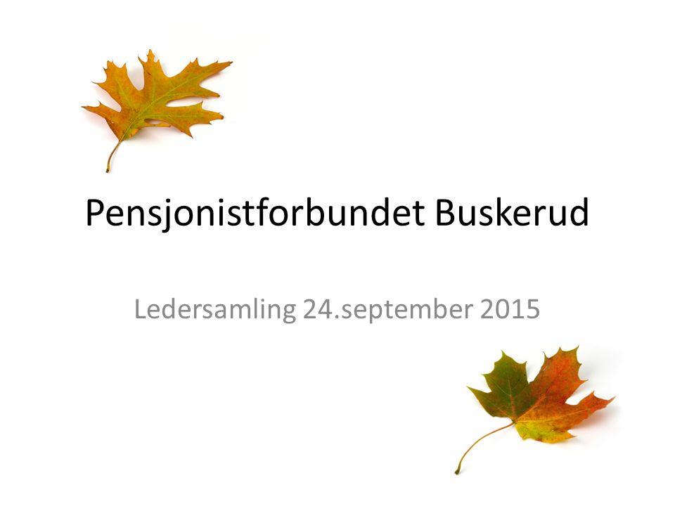 Pensjonistforbundet Buskerud Ledersamling 24.september 2015