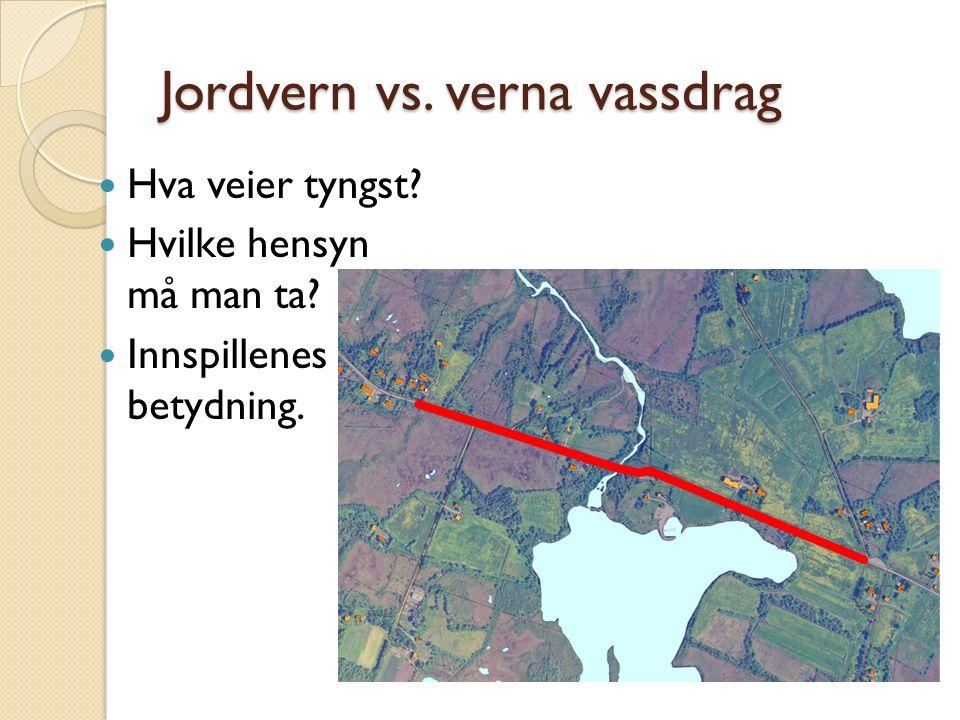 Jordvern vs. verna vassdrag Hva veier tyngst Hvilke hensyn må man ta Innspillenes betydning.