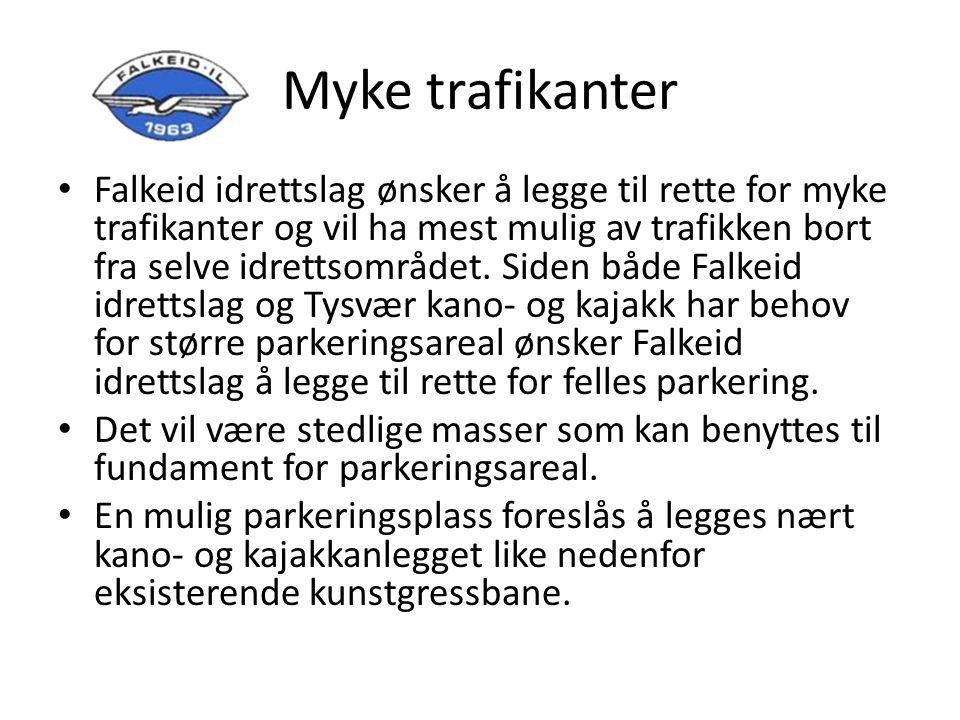 Myke trafikanter Falkeid idrettslag ønsker å legge til rette for myke trafikanter og vil ha mest mulig av trafikken bort fra selve idrettsområdet.