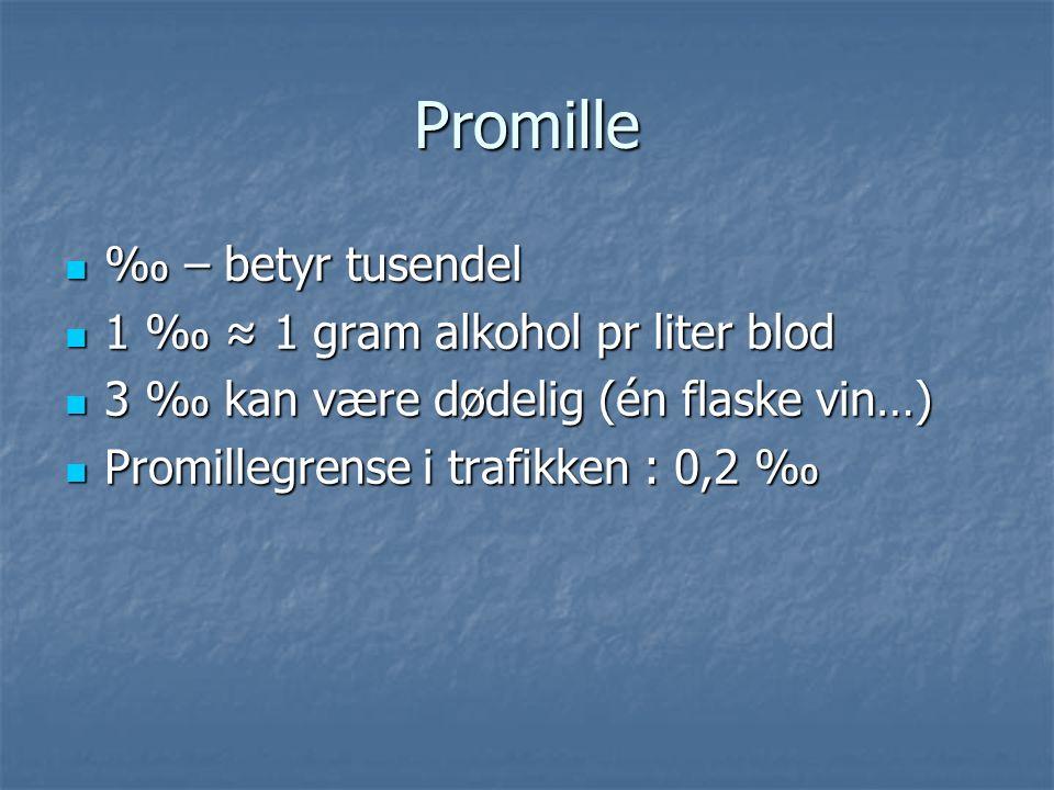 Promille ‰ – betyr tusendel ‰ – betyr tusendel 1 ‰ ≈ 1 gram alkohol pr liter blod 1 ‰ ≈ 1 gram alkohol pr liter blod 3 ‰ kan være dødelig (én flaske vin…) 3 ‰ kan være dødelig (én flaske vin…) Promillegrense i trafikken : 0,2 ‰ Promillegrense i trafikken : 0,2 ‰