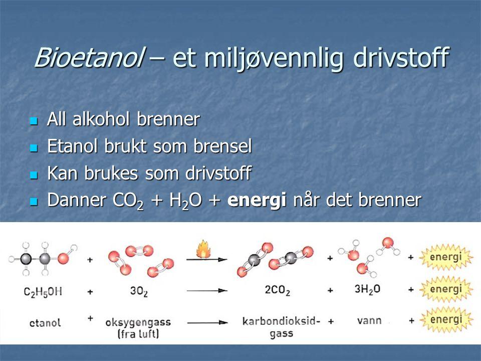 Bioetanol – et miljøvennlig drivstoff All alkohol brenner All alkohol brenner Etanol brukt som brensel Etanol brukt som brensel Kan brukes som drivstoff Kan brukes som drivstoff Danner CO 2 + H 2 O + energi når det brenner Danner CO 2 + H 2 O + energi når det brenner