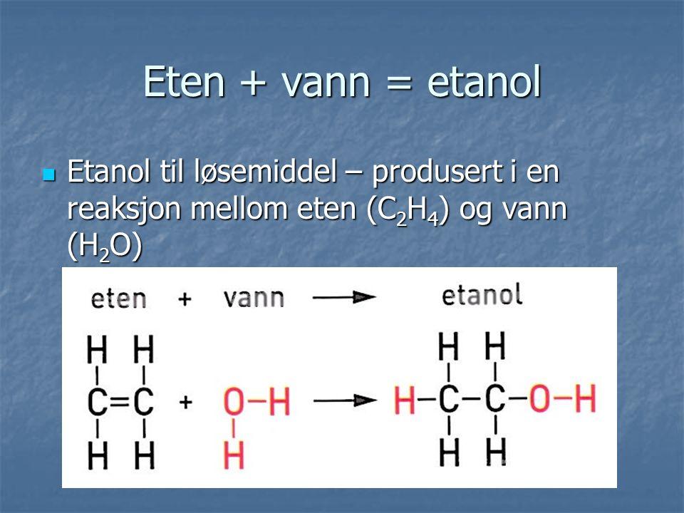 Eten + vann = etanol Etanol til løsemiddel – produsert i en reaksjon mellom eten (C 2 H 4 ) og vann (H 2 O) Etanol til løsemiddel – produsert i en reaksjon mellom eten (C 2 H 4 ) og vann (H 2 O)