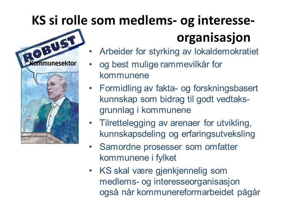 KS si rolle som medlems- og interesse- organisasjon Arbeider for styrking av lokaldemokratiet og best mulige rammevilkår for kommunene Formidling av f