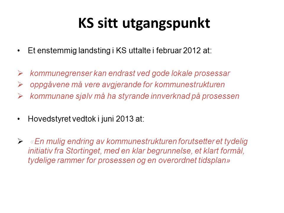 KS sitt utgangspunkt Et enstemmig landsting i KS uttalte i februar 2012 at:  kommunegrenser kan endrast ved gode lokale prosessar  oppgåvene må vere