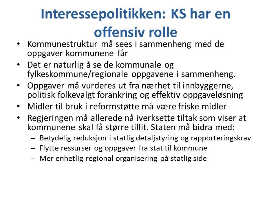Interessepolitikken: KS har en offensiv rolle Kommunestruktur må sees i sammenheng med de oppgaver kommunene får Det er naturlig å se de kommunale og
