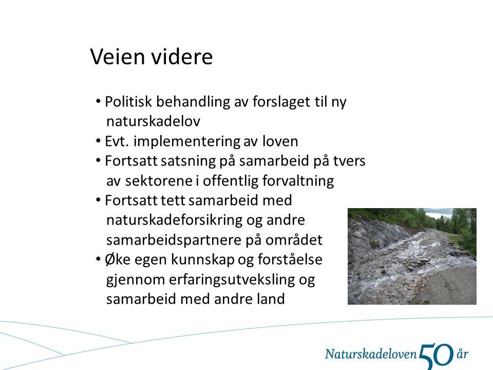 Veien videre Politisk behandling av forslaget til ny naturskadelov Evt. implementering av loven Fortsatt satsning på samarbeid på tvers av sektorene i