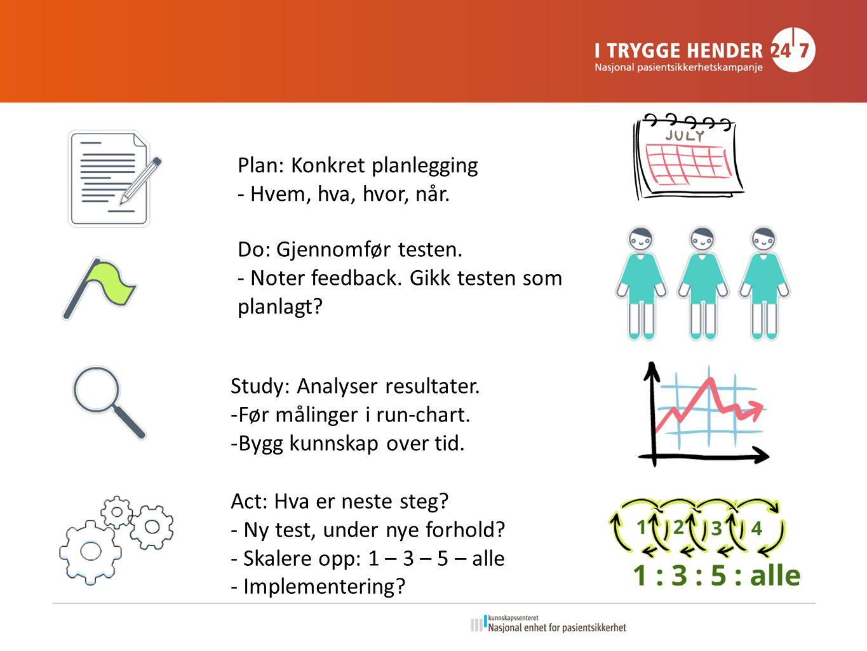 Plan: Konkret planlegging - Hvem, hva, hvor, når. Do: Gjennomfør testen.