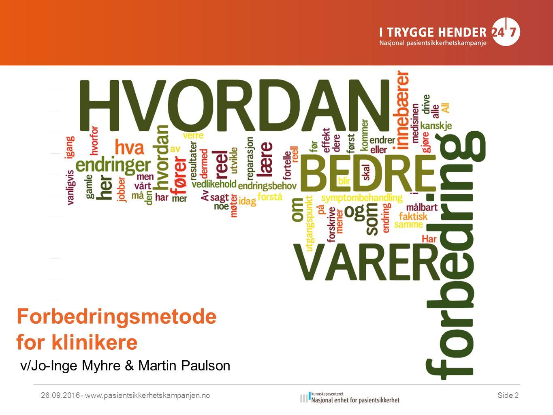 Forbedringsmetode for klinikere 26.09.2016 - www.pasientsikkerhetskampanjen.noSide 2 v/Jo-Inge Myhre & Martin Paulson