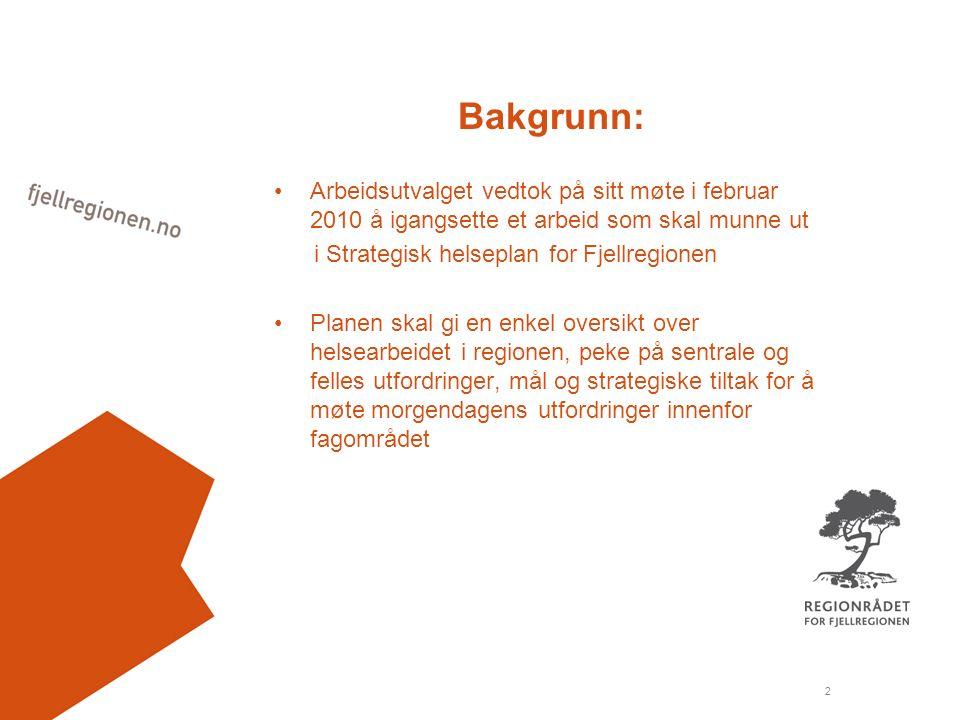 2 Bakgrunn: Arbeidsutvalget vedtok på sitt møte i februar 2010 å igangsette et arbeid som skal munne ut i Strategisk helseplan for Fjellregionen Planen skal gi en enkel oversikt over helsearbeidet i regionen, peke på sentrale og felles utfordringer, mål og strategiske tiltak for å møte morgendagens utfordringer innenfor fagområdet