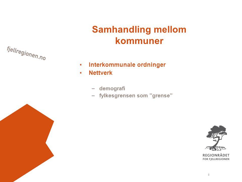 8 Samhandling mellom kommuner Interkommunale ordninger Nettverk –demografi –fylkesgrensen som grense