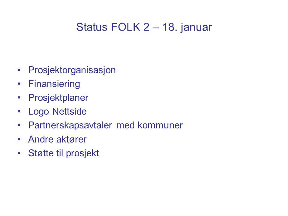 Status FOLK 2 – 18. januar Prosjektorganisasjon Finansiering Prosjektplaner Logo Nettside Partnerskapsavtaler med kommuner Andre aktører Støtte til pr