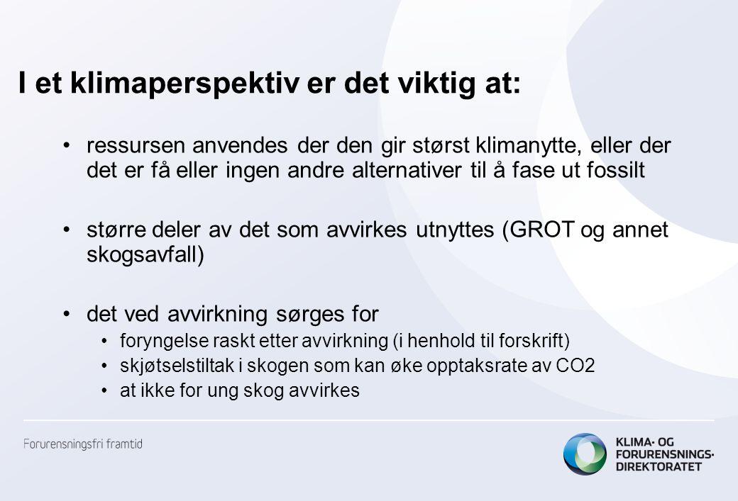 I et klimaperspektiv er det viktig at: ressursen anvendes der den gir størst klimanytte, eller der det er få eller ingen andre alternativer til å fase ut fossilt større deler av det som avvirkes utnyttes (GROT og annet skogsavfall) det ved avvirkning sørges for foryngelse raskt etter avvirkning (i henhold til forskrift) skjøtselstiltak i skogen som kan øke opptaksrate av CO2 at ikke for ung skog avvirkes