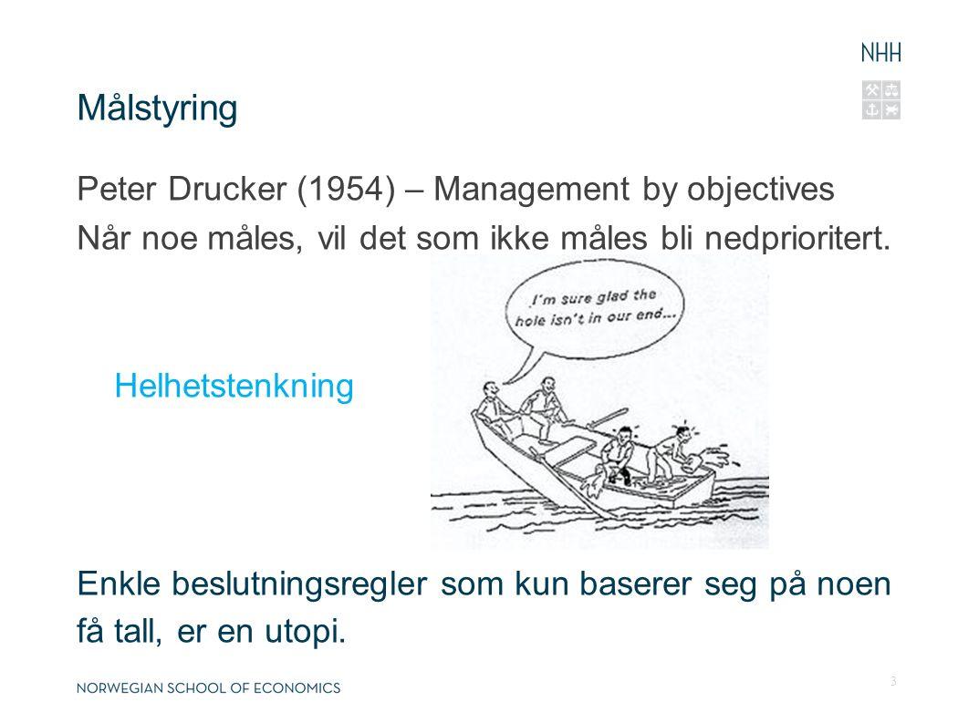 Målstyring Peter Drucker (1954) – Management by objectives Når noe måles, vil det som ikke måles bli nedprioritert.