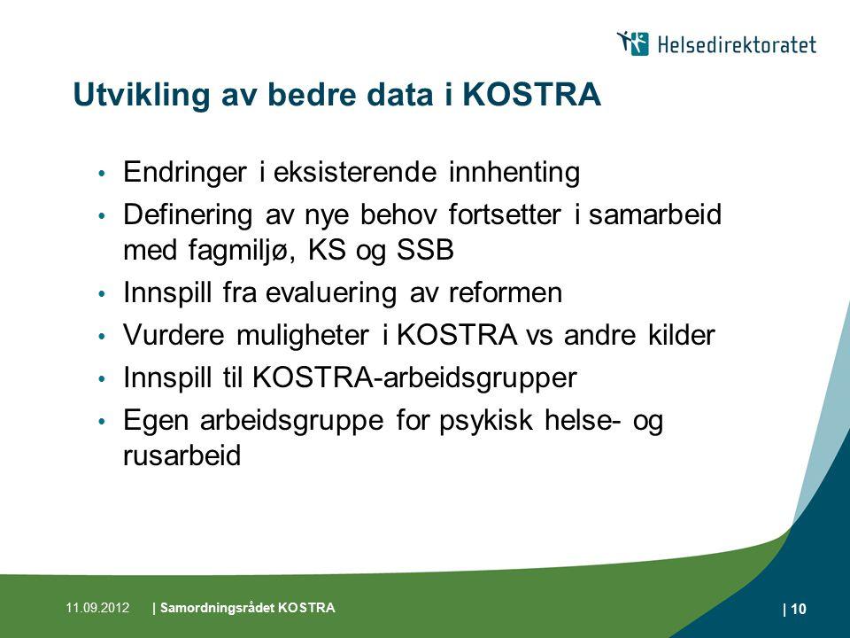 Utvikling av bedre data i KOSTRA Endringer i eksisterende innhenting Definering av nye behov fortsetter i samarbeid med fagmiljø, KS og SSB Innspill f