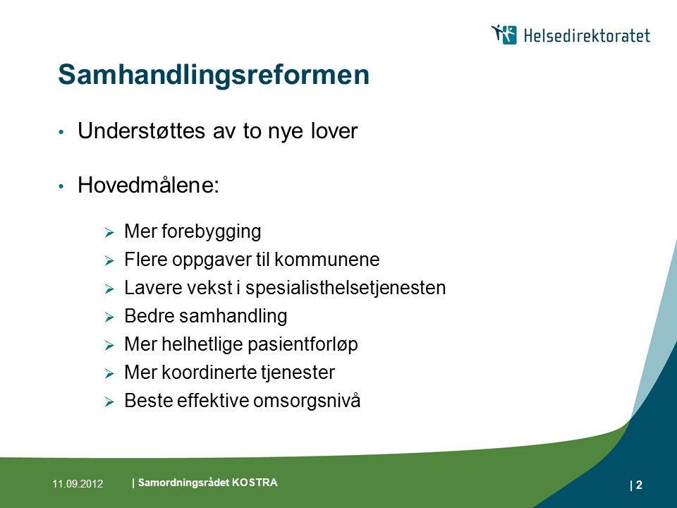 | 2 Samhandlingsreformen Understøttes av to nye lover Hovedmålene:  Mer forebygging  Flere oppgaver til kommunene  Lavere vekst i spesialisthelsetj