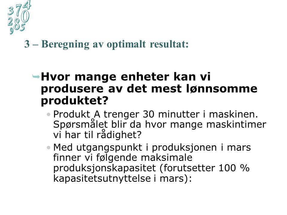 Dekningsbidrag per enhet Forbruk av den knappe faktoren Formel: 8,- 30 Produkt A:= 0,27 10,- 40 Produkt B:= 0,25 15,- 80 Produkt C:= 0,19 Mest lønnsomt.