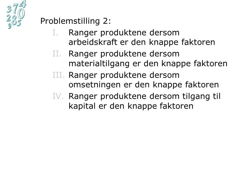 Problemstilling 1:  Forutsett at bedriften maksimalt får solgt 5000 enheter av hvert av bedriftens produkter.