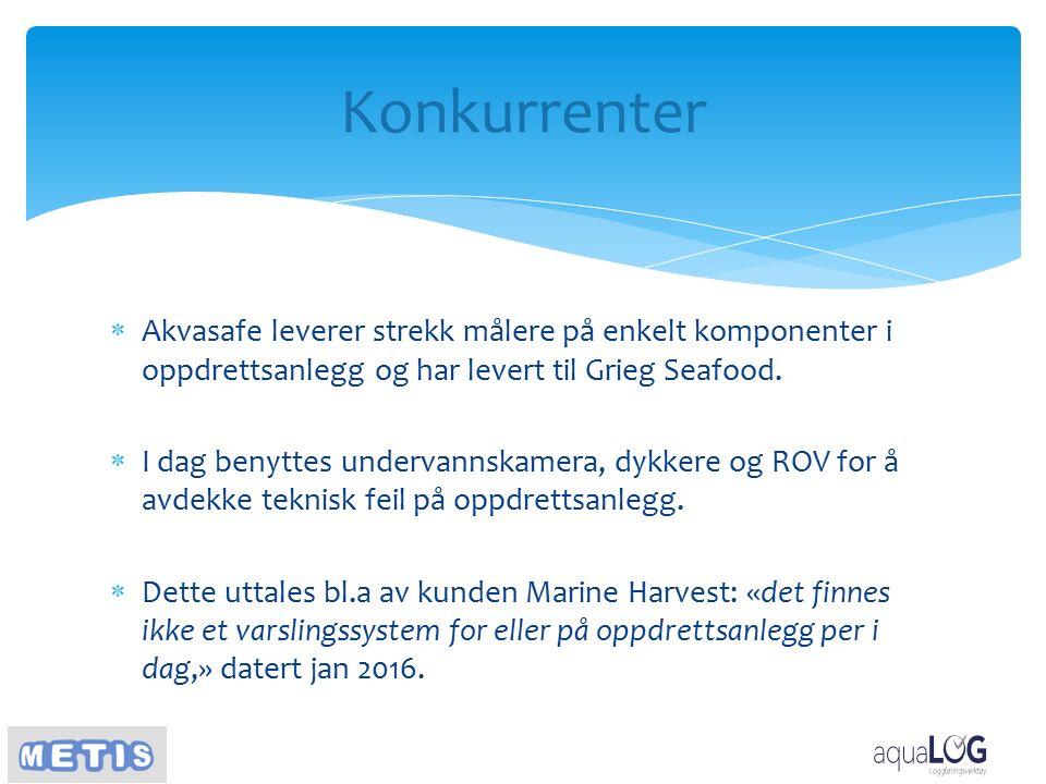 Konkurrenter  Akvasafe leverer strekk målere på enkelt komponenter i oppdrettsanlegg og har levert til Grieg Seafood.