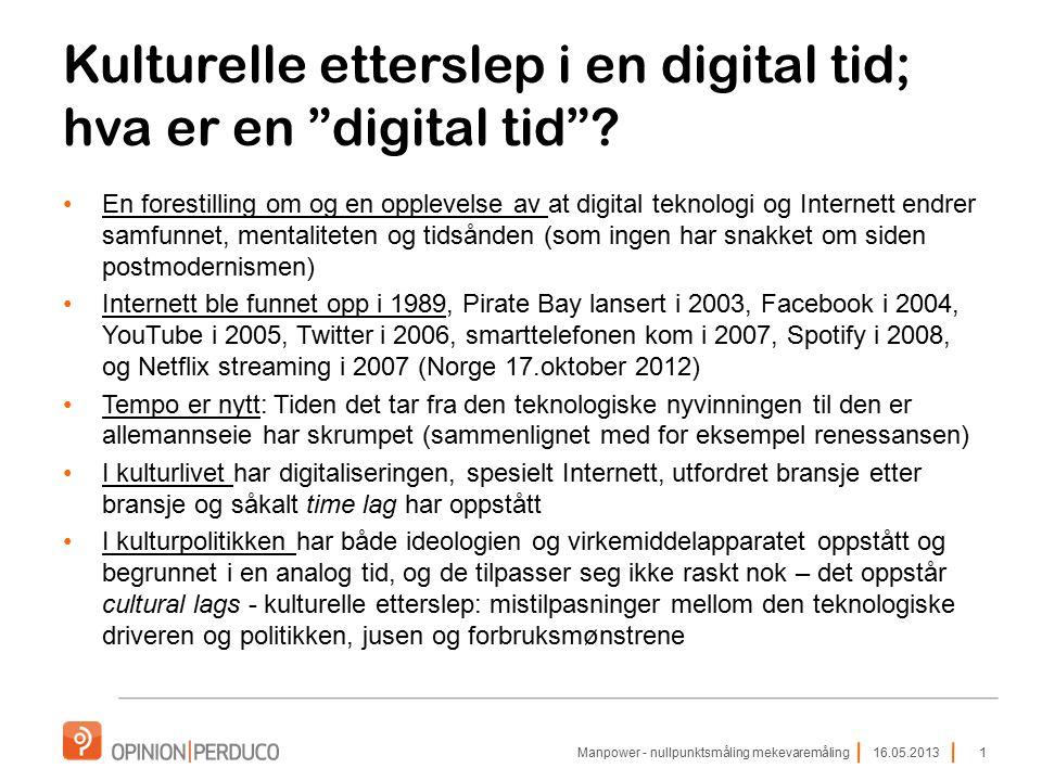 """Kulturelle etterslep i en digital tid; hva er en """"digital tid""""? En forestilling om og en opplevelse av at digital teknologi og Internett endrer samfun"""