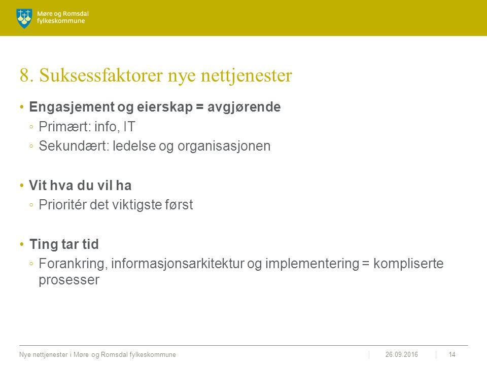 26.09.2016Nye nettjenester i Møre og Romsdal fylkeskommune14 8. Suksessfaktorer nye nettjenester Engasjement og eierskap = avgjørende ◦Primært: info,