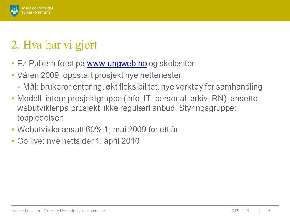 26.09.2016Nye nettjenester i Møre og Romsdal fylkeskommune6 2. Hva har vi gjort Ez Publish først på www.ungweb.no og skolesiterwww.ungweb.no Våren 200