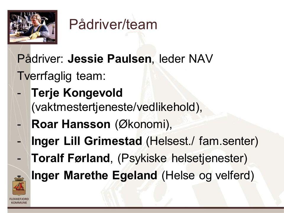 Pådriver/team Pådriver: Jessie Paulsen, leder NAV Tverrfaglig team: -Terje Kongevold (vaktmestertjeneste/vedlikehold), -Roar Hansson (Økonomi), -Inger Lill Grimestad (Helsest./ fam.senter) -Toralf Førland, (Psykiske helsetjenester) -Inger Marethe Egeland (Helse og velferd)