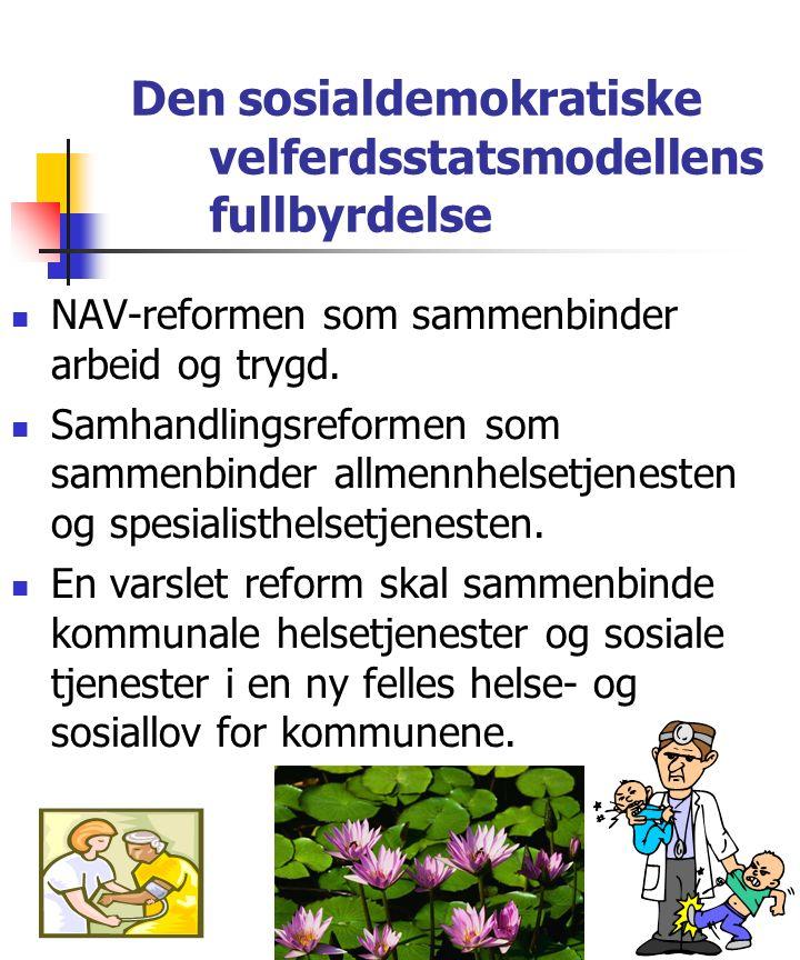 Den sosialdemokratiske velferdsstatsmodellens fullbyrdelse NAV-reformen som sammenbinder arbeid og trygd.