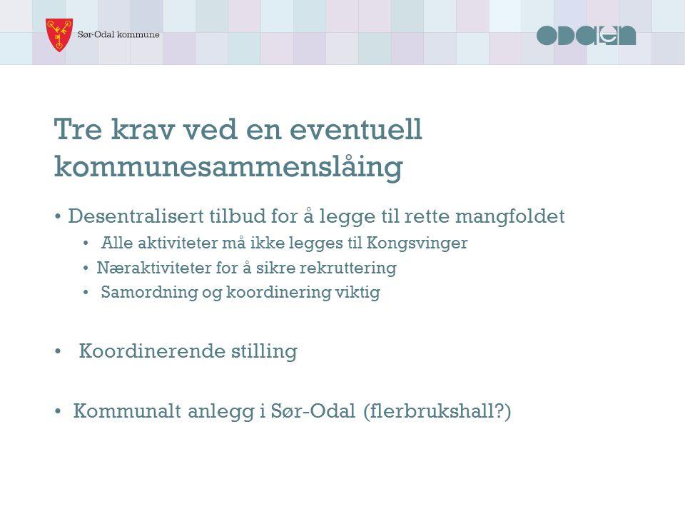Hvilke kommuner og hvorfor Aktuelle kommuner: Kongsvinger (har mange tilbud og strategi for anlegg) Nord-Odal (flere felles tilbud i dag) Fordel store kommuner: Bedre tilbud Større miljøer, flere til å dele på oppgavene