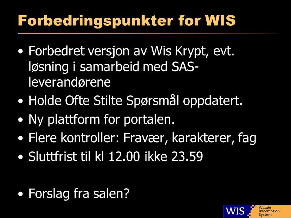 Forbedringspunkter for WIS Forbedret versjon av Wis Krypt, evt. løsning i samarbeid med SAS- leverandørene Holde Ofte Stilte Spørsmål oppdatert. Ny pl