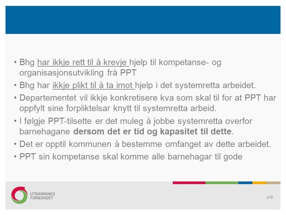 Bhg har ikkje rett til å krevje hjelp til kompetanse- og organisasjonsutvikling frå PPT Bhg har ikkje plikt til å ta imot hjelp i det systemretta arbeidet.