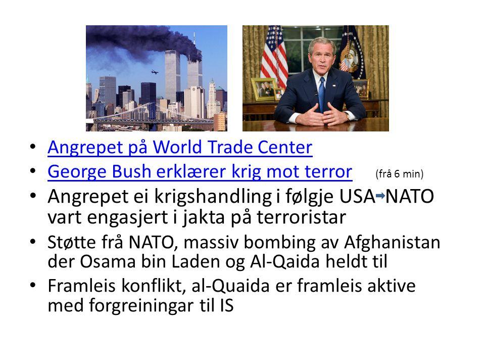Angrepet på World Trade Center George Bush erklærer krig mot terror (frå 6 min) George Bush erklærer krig mot terror Angrepet ei krigshandling i følgje USA NATO vart engasjert i jakta på terroristar Støtte frå NATO, massiv bombing av Afghanistan der Osama bin Laden og Al-Qaida heldt til Framleis konflikt, al-Quaida er framleis aktive med forgreiningar til IS