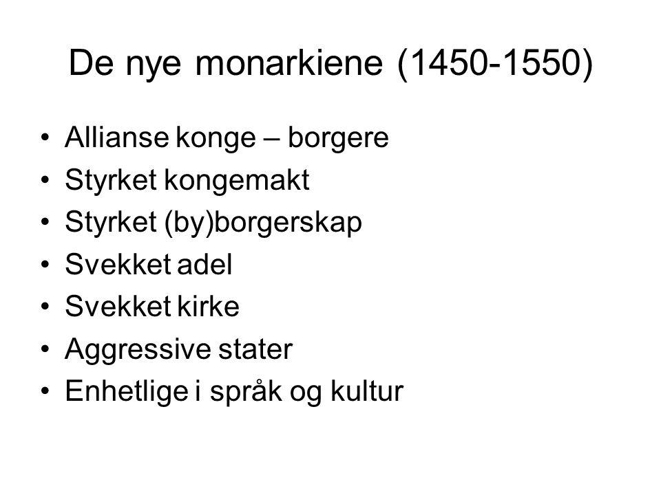 De nye monarkiene (1450-1550) Allianse konge – borgere Styrket kongemakt Styrket (by)borgerskap Svekket adel Svekket kirke Aggressive stater Enhetlige i språk og kultur