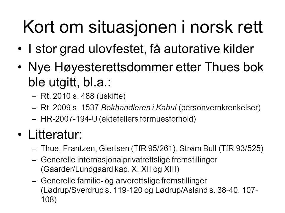 Kort om situasjonen i norsk rett I stor grad ulovfestet, få autorative kilder Nye Høyesterettsdommer etter Thues bok ble utgitt, bl.a.: –Rt.