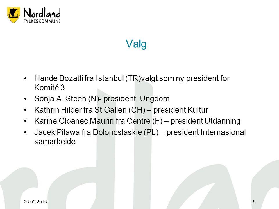 26.09.20166 Valg Hande Bozatli fra Istanbul (TR)valgt som ny president for Komité 3 Sonja A.