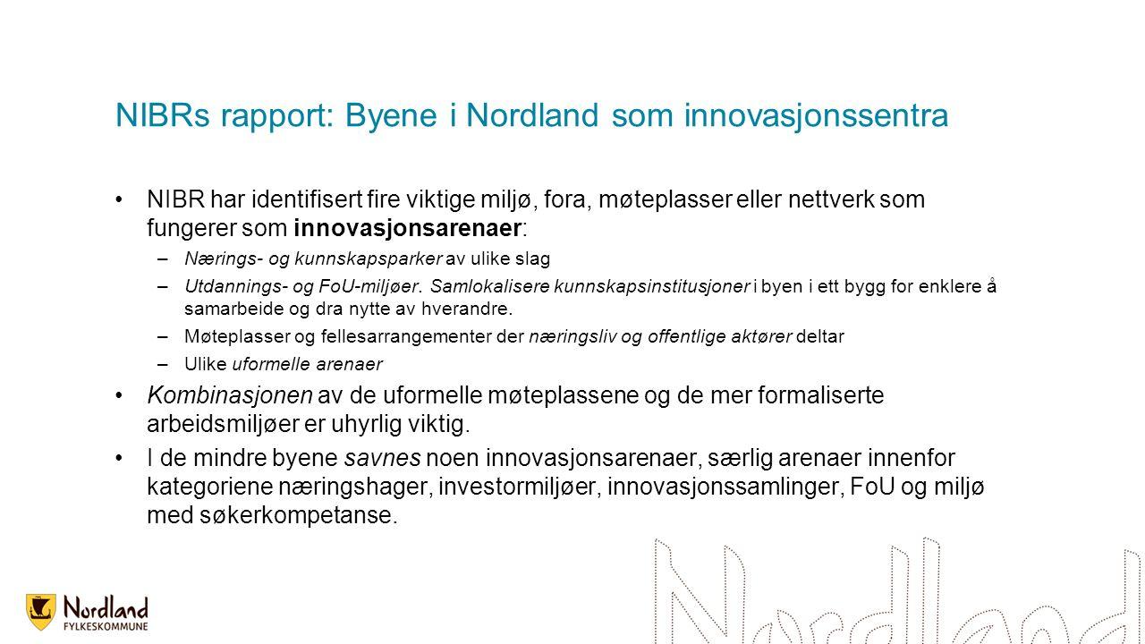 NIBRs rapport: Byene i Nordland som innovasjonssentra NIBR har identifisert fire viktige miljø, fora, møteplasser eller nettverk som fungerer som innovasjonsarenaer: –Nærings- og kunnskapsparker av ulike slag –Utdannings- og FoU-miljøer.