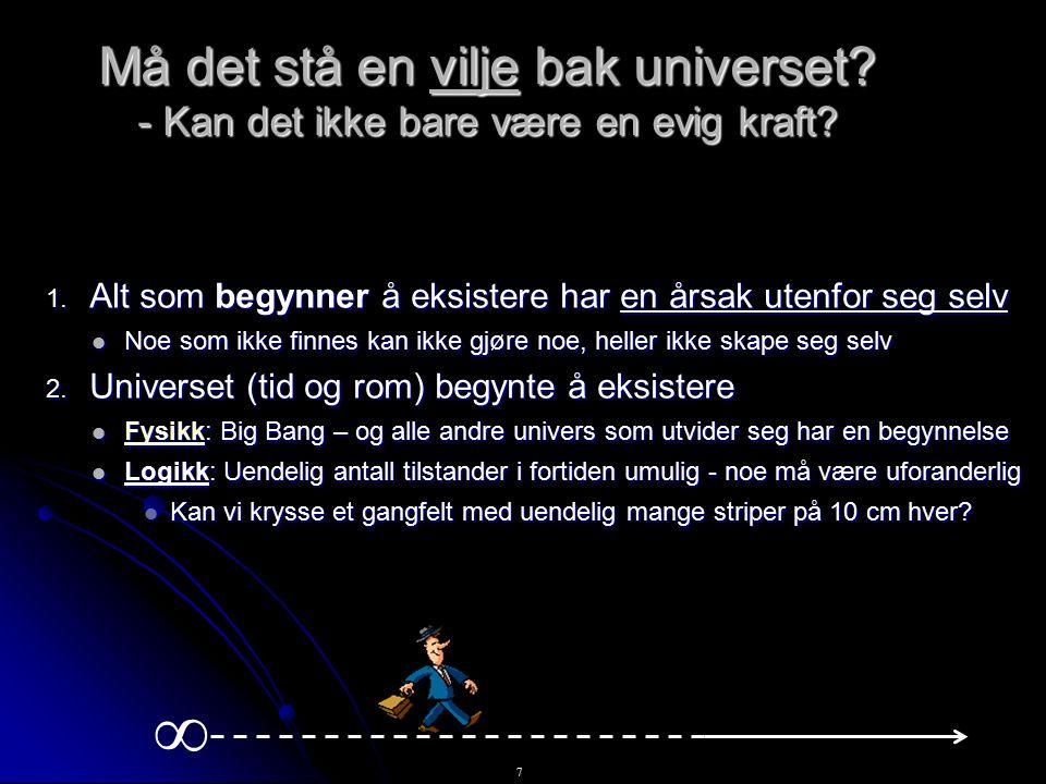 8 En vilje bak universet 3.Universet har en årsak utenfor tid og rom.