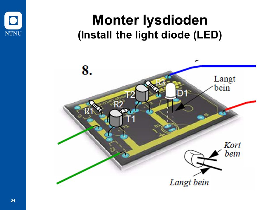 24 Monter lysdioden (Install the light diode (LED)