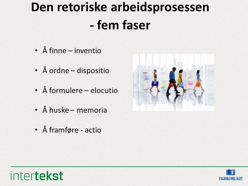 Den retoriske arbeidsprosessen - fem faser Å finne – inventio Å ordne – dispositio Å formulere – elocutio Å huske – memoria Å framføre - actio
