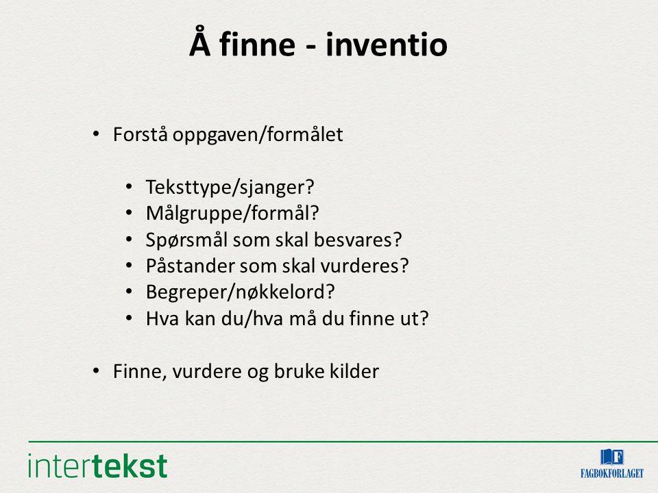 Å finne - inventio Forstå oppgaven/formålet Teksttype/sjanger? Målgruppe/formål? Spørsmål som skal besvares? Påstander som skal vurderes? Begreper/nøk