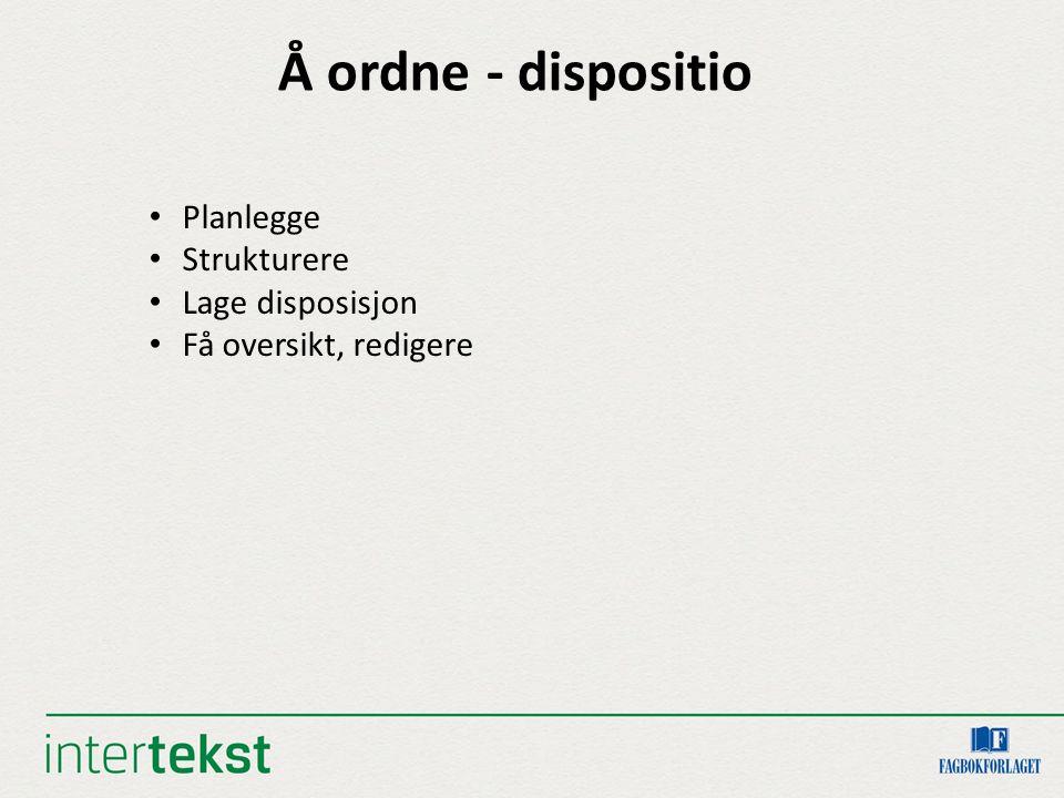Å ordne - dispositio Planlegge Strukturere Lage disposisjon Få oversikt, redigere