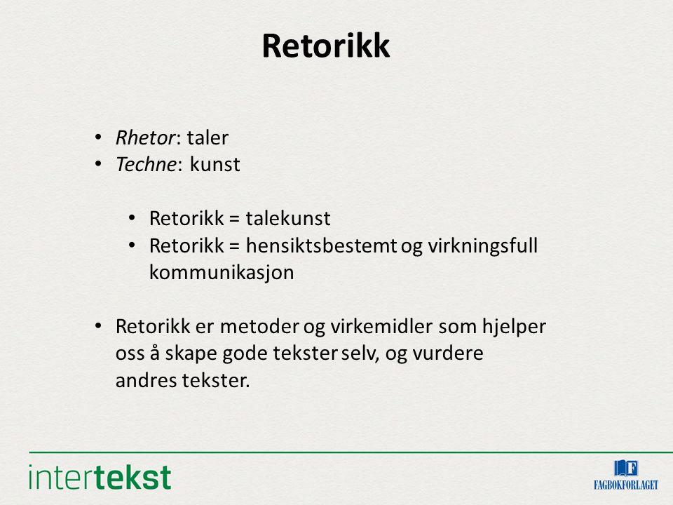 Retorikk Rhetor: taler Techne: kunst Retorikk = talekunst Retorikk = hensiktsbestemt og virkningsfull kommunikasjon Retorikk er metoder og virkemidler som hjelper oss å skape gode tekster selv, og vurdere andres tekster.