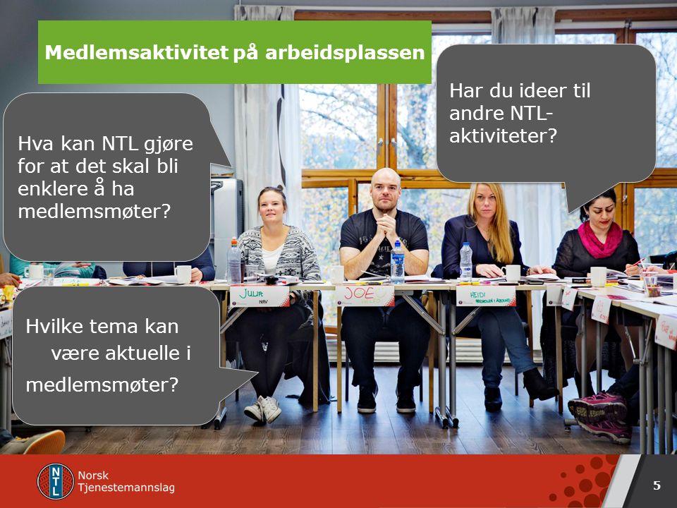 NTL på arbeidsplassen 5 Medlemsaktivitet på arbeidsplassen Hvilke tema kan være aktuelle i medlemsmøter.