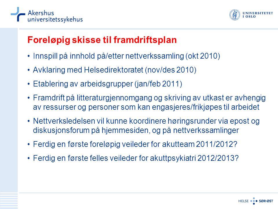 Foreløpig skisse til framdriftsplan Innspill på innhold på/etter nettverkssamling (okt 2010) Avklaring med Helsedirektoratet (nov/des 2010) Etablering