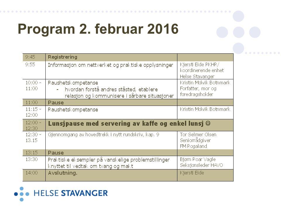 Program 2. februar 2016