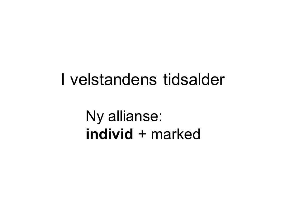 I velstandens tidsalder Ny allianse: individ + marked