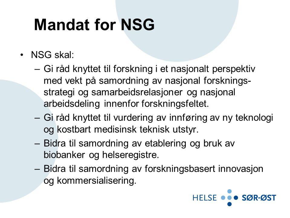 Mandat for NSG NSG skal: –Gi råd knyttet til forskning i et nasjonalt perspektiv med vekt på samordning av nasjonal forsknings- strategi og samarbeidsrelasjoner og nasjonal arbeidsdeling innenfor forskningsfeltet.