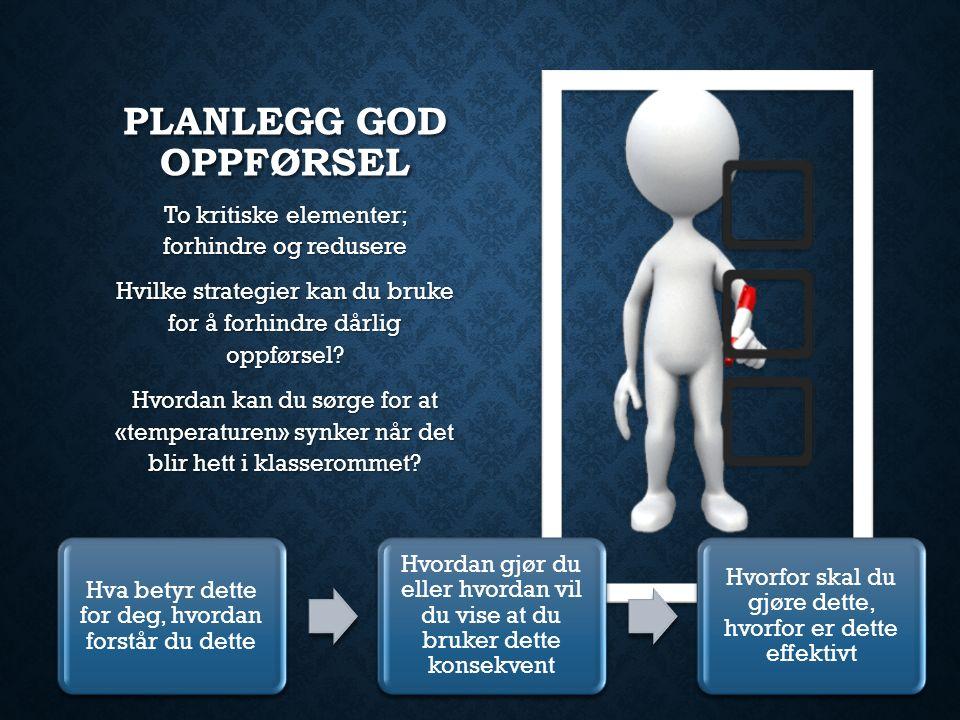 PLANLEGG GOD OPPFØRSEL To kritiske elementer; forhindre og redusere Hvilke strategier kan du bruke for å forhindre dårlig oppførsel.