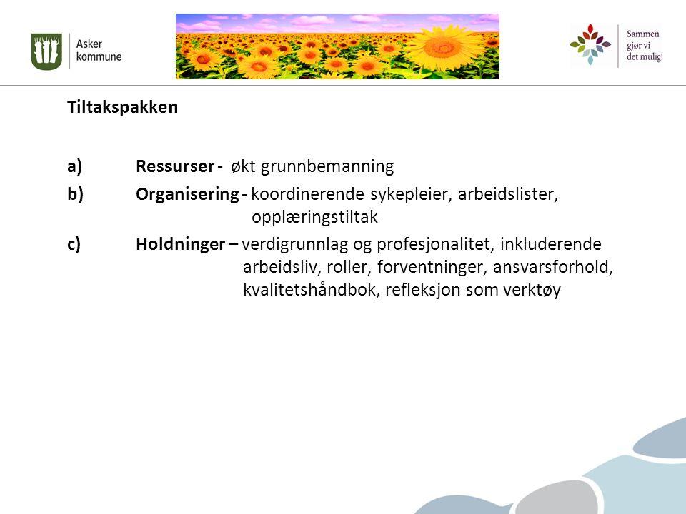 Tiltakspakken a)Ressurser - økt grunnbemanning b)Organisering - koordinerende sykepleier, arbeidslister, opplæringstiltak c)Holdninger – verdigrunnlag og profesjonalitet, inkluderende arbeidsliv, roller, forventninger, ansvarsforhold, kvalitetshåndbok, refleksjon som verktøy